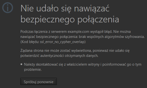 Błąd SSL: no_cypher_overlap