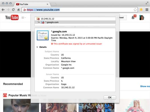 Fałszywy certyfikat SSL wystawiony przez Gogo