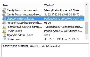 Rozszerzenie Extended Key Usage w ceryfikacie OCSP
