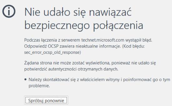 Błąd OCSP: sec_error_ocsp_old_response