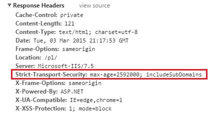Nagłówek STS zwrócony przez serwer