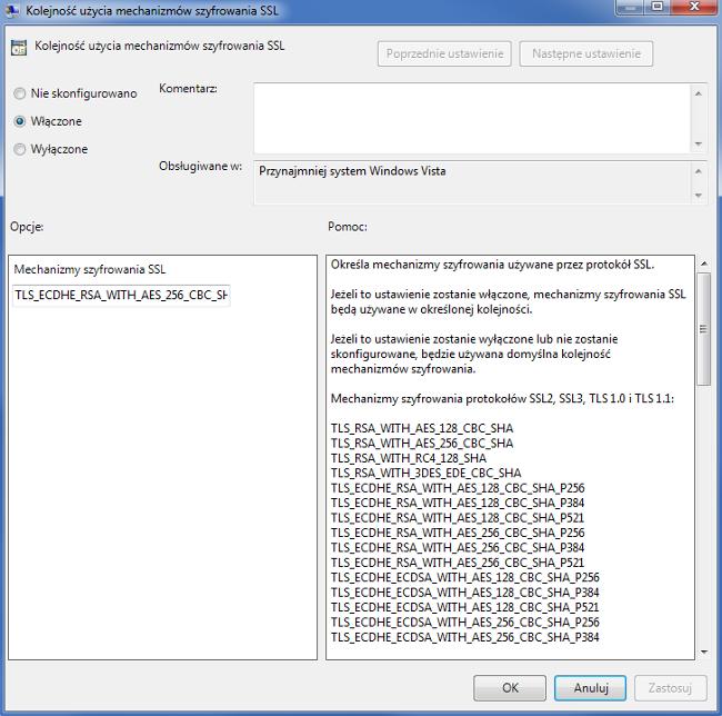 Zmiana konfiguracji SSL/TLS poprzez GPedit