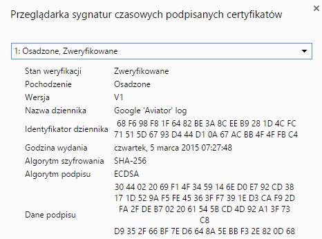 Informacja o SCT w Chrome