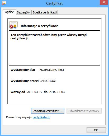 Certyfikat MCS (zwróćcie uwagę na okres ważności)